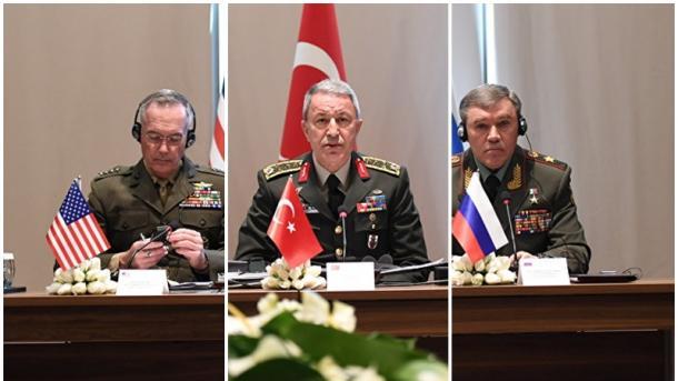 Руководителя ГенштабовВС Российской Федерации, Турции иСША проводят трёхстороннюю встречу вАнталье
