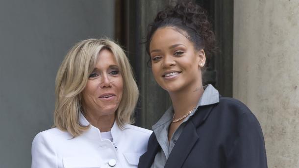 El matrimonio Macron recibió a Rihanna por su labor humanitaria