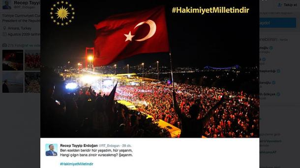 """Erdogan na Twitteru objavio poruku """"Vlast pripada narodu"""""""