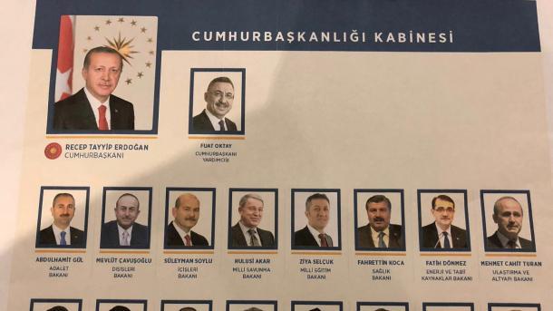 ترکی میں صدارتی نظام پرعمل درآمد پر سولہ رکنی نئی کابینہ کا اعلان کردیا گیا، نائب صدر فواد اوکتائے