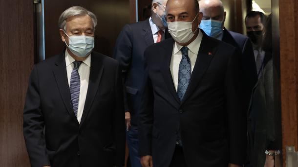 Takimi Çavusoglu-Guterres, në fokus Qiproja, Afganistani, Libia, Siria dhe ndryshimet klimatike   TRT  Shqip