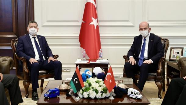 Ministri i Brendshëm Suleyman Soylu priti në takim homologun e tij libian Khalid et-Tijani Mazin | TRT  Shqip
