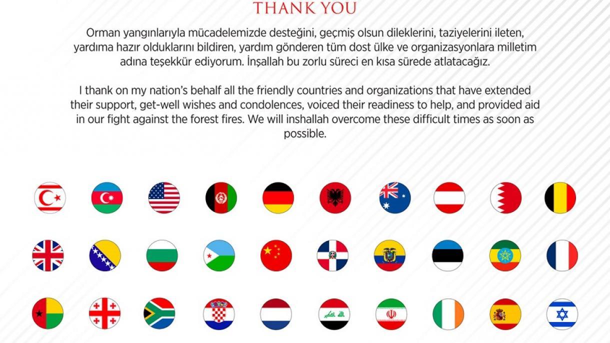 Erdogan zahvalio svim zemljama i organizacijama na podršci u gašenju požara u Turskoj